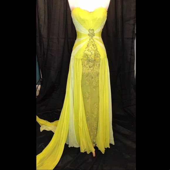 Carlos Alberto Dresses | Custom Yellow Silk Pageant Gown | Poshmark